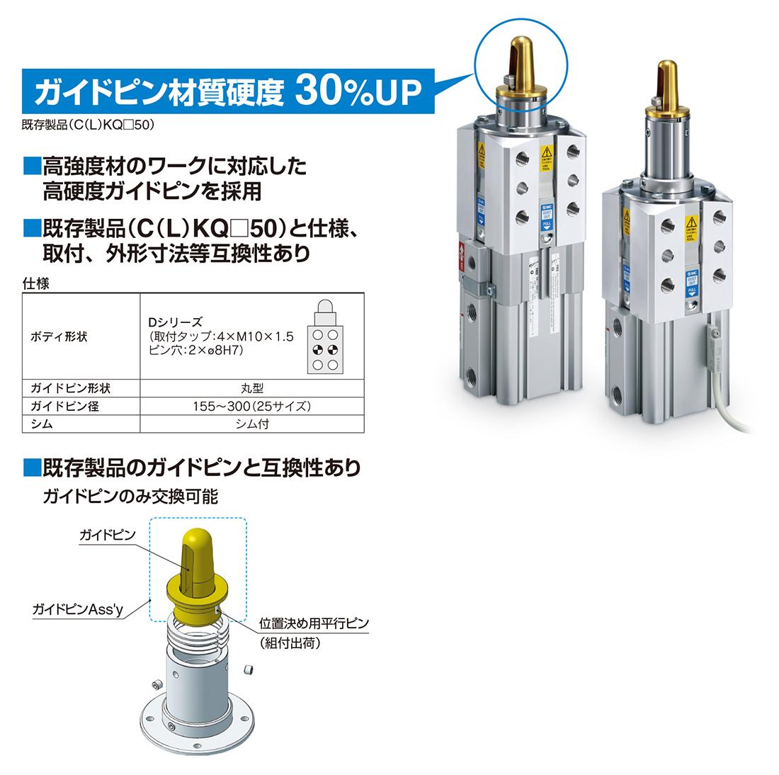 新製品情報:ピンクランプシリンダ ガイドピン高硬度タイプ C(L)KQ□D ...