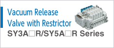 Vacuum release valve with restrictor Series SY3A□R/RY5A□R
